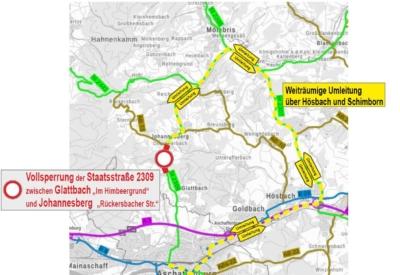 Ortsdurchfahrt Johannesberg gesperrt